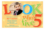 Look Who Is Five Photo 5th Birthday Invitations