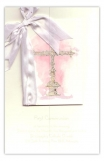 Silver Cross Pink Invitation