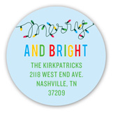 Merry  Christmas Lights Round Sticker