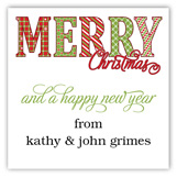 Merry Christmas Pattern Words Square Sticker