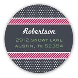 Dots and Stripes Merry Little Christmas Round Sticker