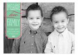 Mint Peace Love Family Photo Card