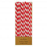 Red Striped Party Drinking Straws