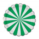 Green Stripe Foil Large Party Plates