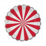 Red Stripe Foil Small Party Plates