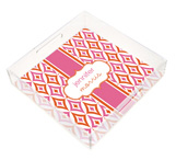 Mod Pink and Orange Pattern Square Lucite Tray
