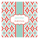 Mod Red and Aqua Pattern Square Lucite Tray Insert