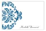 Modern Damask Blue Flat Note Card