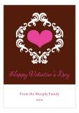 Modern Damask Valentine Card