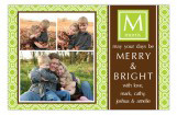 Modern Lime Initial Photo Card