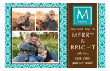Modern Teal Initial Photo Card