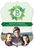 Bracket Die-Cut Monogram Wreath Photo Card