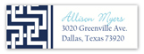 Navy Butter China Floral Address Label