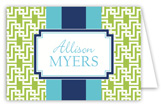 Navy Butter China Floral Folded Note Card
