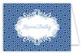 Navy Light Blue Greek Key Folded Note Card