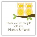 Neutral Twin Perched Owls Square Sticker