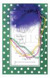 Hokie Pokie Mardi Gras Invitation with Beads