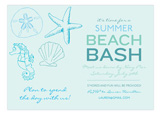 Ocean Blue Icons Pool Party Invitations
