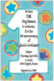 Boys Stars One Fun Blue 1st Birthday Invitations