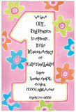 Groovy Flowers One Fun Pink 1st Birthday Party Invitation