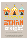 Orange Carnival Circus Party Invitations