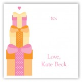 Orange Stacked Presents Gift Tag