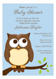 Owl Blue Boy Baby Shower Invitation