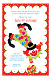 Party Clown Kids Birthday Invitations