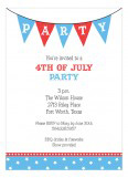 Patriotic Party Flags 4th of July Invitations