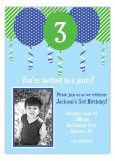 Patterned Blue Balloons Photo Invitation