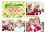 Gold Gingham Holiday Photo Card