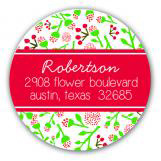 Floral Christmas Cheer Holiday Label