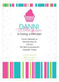 Bright Pink Confetti Cupcake Birthday Party Invitation