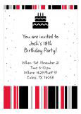 Black and Red Confetti Cake Birthday Party Invitation