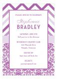 Marsala Chevron and Damask Party Invitation