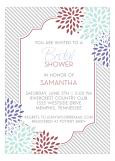 Marsala Peony and Pinstripe Bridal Invitation
