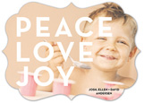Bracket Die-Cut Peace Love Joy Custom Family Photo Cards