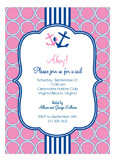Pink and Blue Nautical Monogram Invitation