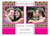 Pink and Brown Lattice Photo Card