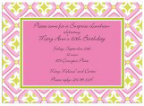 Pink and Green Tile Pattern Invitation