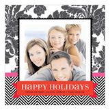 Pink and Red Festive Floral Photo Card