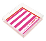 Pink and Red Stripes Square Lucite Tray