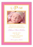Pink and Tangerine Monogram Border Photo Card