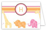 Pink Animal Monogram Folded Note Card