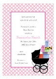 Pink Baby Buggie Invitation