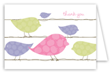Pink Birds on a Wire Folded Note Card