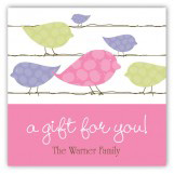 Pink Birds on a Wire Square Sticker