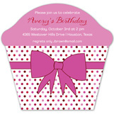 Pink Bow Cupcake Invitation