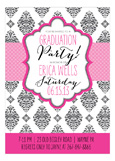 Pink Brocade Graduation Invitation
