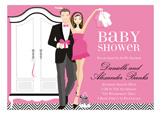 Pink Brunette Armoire Baby Shower Invitation